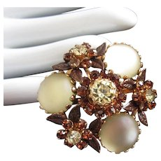 Glowing Jonquil and Topaz Rhinestone and Enamel Flowers Pin Brooch