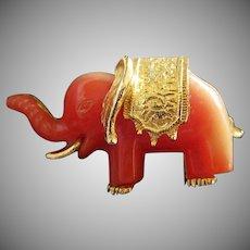 Tiny Tangerine Lucite Elephant Vintage Pin