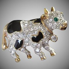 Sweet and Small Rhinestone and Enamel Cow Pin Brooch