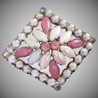 Pink Satin and White Iridescent Glass Rhinestone Vintage Pin Brooch