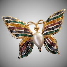 Enamel and Faux Pearl Butterfly Pin Brooch signed FO