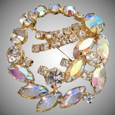 Juliana Jonquil AB and Clear Rhinestone Vintage Pin Brooch