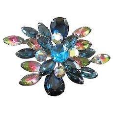 Incredible Layered Multi Colored Rhinestone Brooch Pin