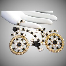 Large Vintage Black White Rhinestone Bicycle Pin Brooch ~ Salesman's Sample