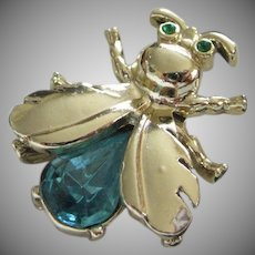 Sweet Petite Bug Insect Pin with Rhinestones