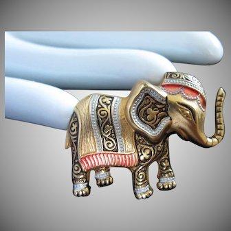 Vintage Damascene Elephant Pin Brooch signed SPAIN