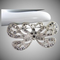 Vintage Marcasite and Silver Tone Butterfly Pin Brooch