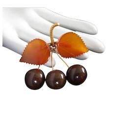 Gold Filled Russian Baltic Amber Cherries and Leaves Pin Brooch