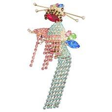 Rare Butler and Wilson Geisha Girl Rhinestone Pin Brooch