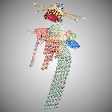 Rare Butler and Wilson Geisha Girl Rhinestone Pin Brooch