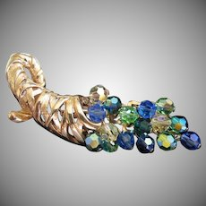 Golden Cornucopia Pin Brooch with Blue and Green Cascade of Crystals