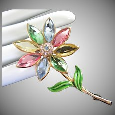 Bezel Set Pastel Navettes Flower Pin Brooch with Enamel and Rhinestones