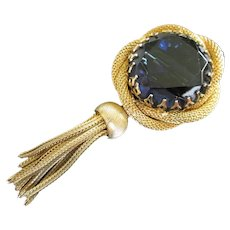Huge Blue Sapphire Rhinestone in Gold Tone Mesh with Dangle Pin or Pendant, Brooch