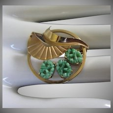 Carved Jade and Gold Filled Petite Vintage Pin Brooch, Signed