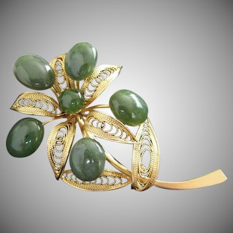 Jade and Gold Tone Filigree Flower Pin Brooch