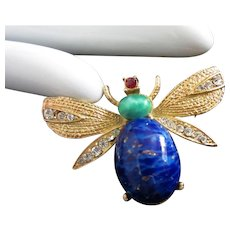 Faux Lapis Lazuli and Rhinestone Bug Insect Pin Brooch