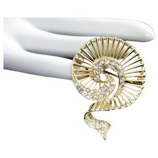 Exotic Spiral Shaped Gold Tone Rhinestone Pin Brooch