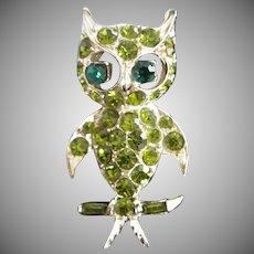 PELL Olivine Rhinestone Owl Pin Brooch