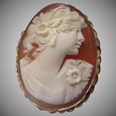 Hand Carved Shell Cameo Pin Brooch or Pendant, Goddess Flora
