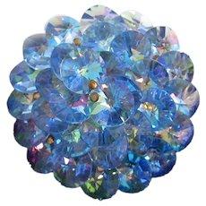 Iridescent Blue Rivoli Cluster Rhinestone Pin Brooch