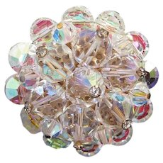 Flashy AB Crystals Cluster Pin Brooch