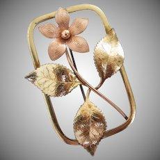 1940's Krementz DIANA Gold Filled Floral Pin Brooch