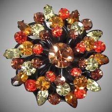 Japanned Fall Colors Rhinestone Vintage Pin Brooch