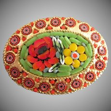 Colorful Vintage Micro Mosaic Floral Pin Brooch