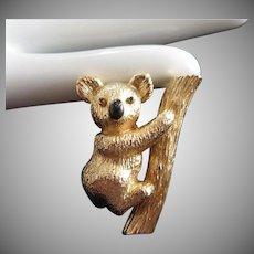 Vintage Lisner Gold Tone Koala Bear Pin brooch