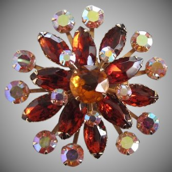 Topaz and Red Topaz Fall Colors Rhinestone Pin Brooch