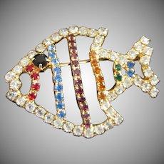 Multi Colored Rhinestone Little Fish Pin
