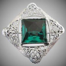 Sterling Silver Filigree and Emerald Rhinestone Brooch Pin