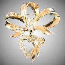 JJ Bows and Dangling Heart Rhinestone Pin Brooch