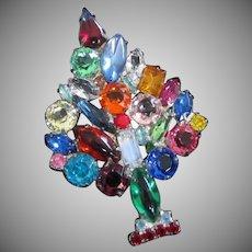 Vintage Multi Colored Rhinestone Christmas Tree Holiday Pin Brooch