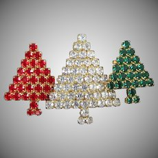 Trio of Rhinestone Christmas Trees Pin Brooch in Crystal, Ruby and Emerald