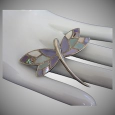 Sterling Silver and Abalone Shell Dragonfly Pin Brooch, .925