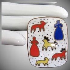 Mid Century Russian Folk Art Enamel Pin Brooch