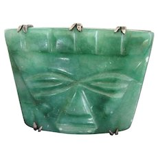 Final Markdown - Mexican Sterling Silver and Green Onyx Carved Warrior Face Mask Pin Brooch