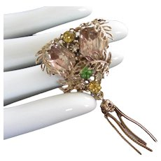 Unusual Pale Pink Rhinestones with Leaves and Dangle Pin Brooch