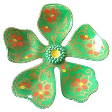 Spring Green Enamel and Hand Painted Flower Pin Brooch, West Germany