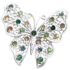 Vintage White Enamel and Rhinestone Butterfly Pin Brooch