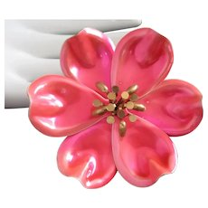 Pink and Coral Metallic Enamel Flower Pin Brooch
