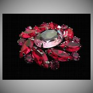 Vintage Pink and Red Rhinestone Pin Brooch ~ FINAL REDUCTION!