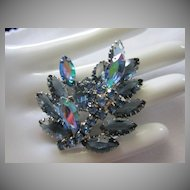 Vintage Blue Rhinestone Torch Pin Brooch ~ REDUCED ~ 1/2 OFF!
