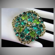 Vintage Emerald, Peridot and Olivine Rhinestone Brooch Pin