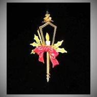Vintage ART Christmas Enamel Street Lamp Figural Pin Brooch ~ REDUCED ~ 1/2 OFF!