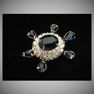 Vintage Jet Black and Clear Rhinestone Turtle Pin Brooch ~ REDUCED!!