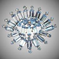 Brilliant Light Sapphire Blue Fan-Shaped Brooch Pin