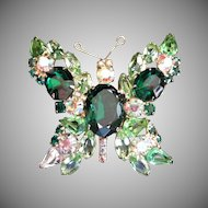 Vintage Emerald Rhinestone Butterfly Pin Brooch ~ FINAL REDUCTION!