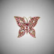 Vintage Pink Rhinestone Butterfly Pin Brooch ~ FINAL REDUCTION!